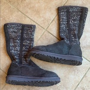 Ugg lyla grey knit sequin pull on slouch boots